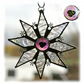 Sparkly Star Suncatcher Stained Glass Snowflake Pink heart Handmade 9.5cm 026