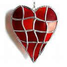 Patchwork Heart Suncatcher Stained Glass Handmade Reds 046