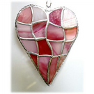 Patchwork Heart Suncatcher Stained Glass Handmade Pink 047