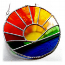 Sunrise Picture Stained Glass Suncatcher Handmade Sun Ring 036