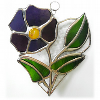 Pansy Heart Suncatcher Stained Glass Flower 019