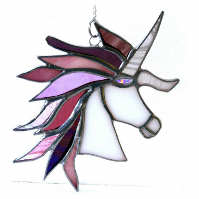 Unicorn Suncatcher Stained Glass Handmade 023 Pinks