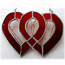 Entwined Heart Suncatcher Stained Glass Ruby 40th Wedding 018