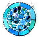 Rockpool Suncatcher Stained Glass Abstract Handmade fused 021