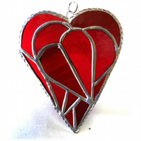 Triple Heart Stained Glass Suncatcher 005 Red