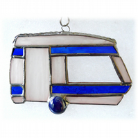 Caravan Suncatcher Stained Glass Classic Blue 047