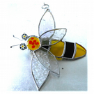 Bee Suncatcher Stained Glass Bumble Queen 026