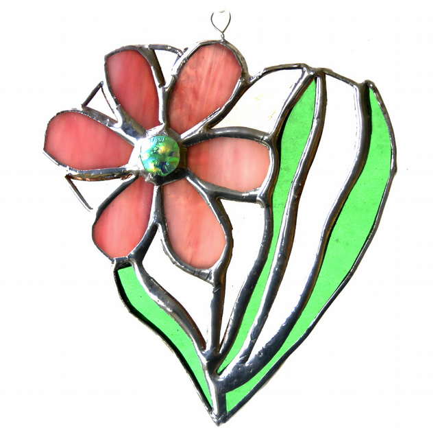 Daisy Heart Suncatcher Stained Glass Flower Pink 012