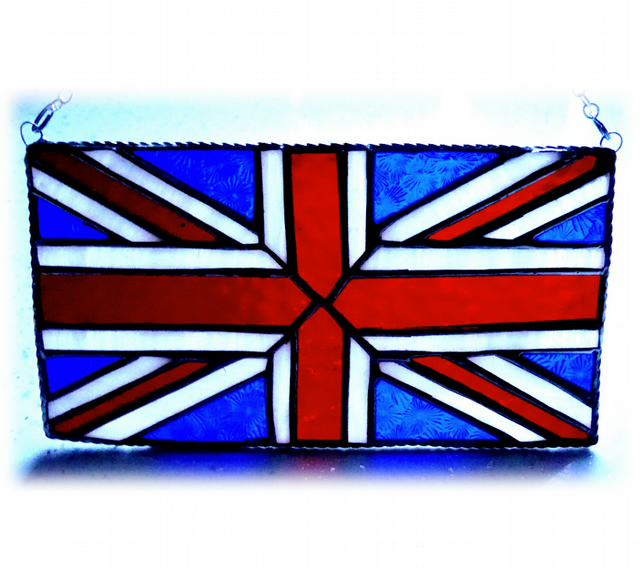 Union Jack Stained Glass Suncatcher Handmade British Flag 009