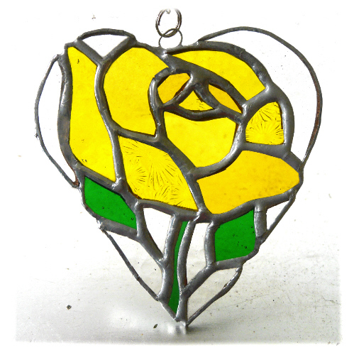 Yellow Rose Heart Suncatcher Stained Glass 018