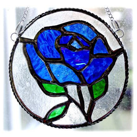 Rose Ring Suncatcher Stained Glass Blue