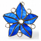 Crystal Star Flower Suncatcher Stained Glass 006 Blues
