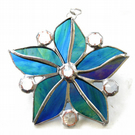 Crystal Star Flower Suncatcher Stained Glass 007 Sea Blue