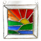 Setting Sun Picture Suncatcher Stained Glass Handmade Sunset 028