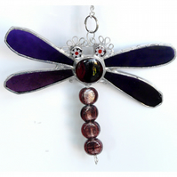 Dragonfly Suncatcher Stained Glass Purple Bead-Tailed 034