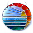Sunset Moon and Sea Stained Glass Suncatcher