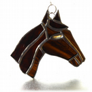Horse Suncatcher Stained Glass Horsehead Brown 096