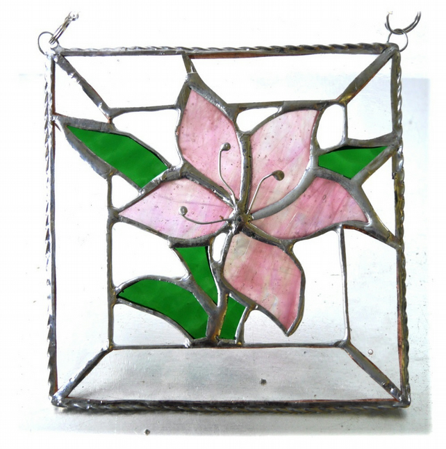 Lily Stained Glass Suncatcher Pink Framed 017