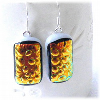 Handmade Fused Dichroic Glass Earrings 256 Gold Paprika