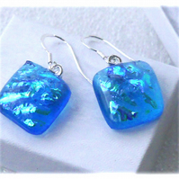 Handmade Fused Dichroic Glass Earrings 257 Turquoise Squares