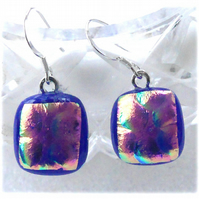 Handmade Fused Dichroic Glass Earrings 258 Blue Magenta
