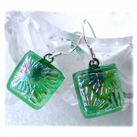 Handmade Fused Dichroic Glass Earrings 259 Green Florentine
