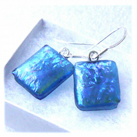 Handmade Fused Dichroic Glass Earrings 261 Blue Teal Squares