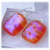 Handmade Fused Dichroic Glass Earrings 262 Amber Clear
