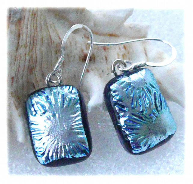 Handmade Fused Dichroic Glass Earrings 263 Silver Florentine