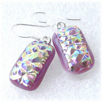 Handmade Fused Dichroic Glass Earrings 255 Pink Diamond Glitter