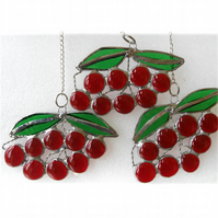 Cherry Suncatcher Stained Glass Bunch of Red Cherries