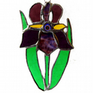 Iris Suncatcher Stained Glass Purple Flower 022
