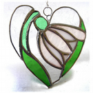Snowdrop Heart Suncatcher Stained Glass 004