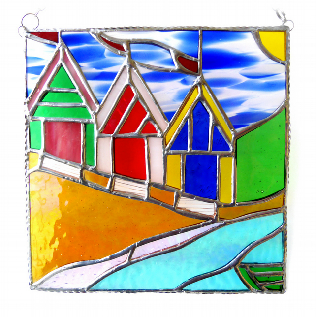 Beach Hut Picture Stained Glass By the Sea Suncatcher Handmade 013