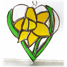 Daffodil Heart Suncatcher Stained Glass 020