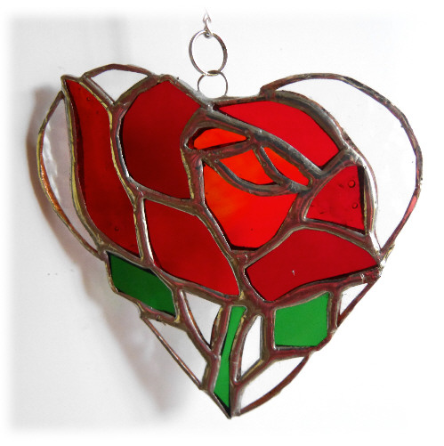 Red Rose Heart Suncatcher Stained Glass 021
