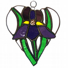 Iris Heart Suncatcher Stained Glass Purple 006