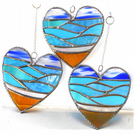 Sea Heart Suncatcher Stained Glass Beach Seaside  Blue Sky