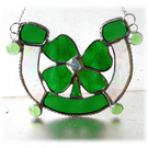 Good Luck Horseshoe Clover Shamrock Stained Glass Suncatcher 003