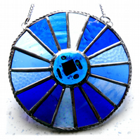 Winter Solstice Suncatcher Stained Glass Handmade Colour Wheel Blues 007