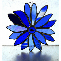 Winter Blues Flower Stained Glass Suncatcher Handmade 007