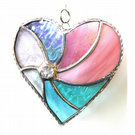 Pastel Swirl Heart Stained Glass Suncatcher 048