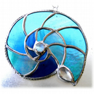 Ammonite Stained Glass Suncatcher Turquoise Sea-Colours 020