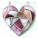 Fat Patchwork Heart Suncatcher Pink Stained Glass Handmade