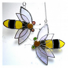 Bee Suncatcher Stained Glass Bumble Queen 027 028