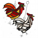 Cockerel Suncatcher Stained Glass chicken 033 Red or 034 White
