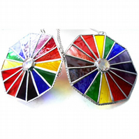 Rainbow Crystal Octagon Suncatcher Stained Glass Handmade 004 005