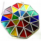 Rainbow Patchwork Octagon Suncatcher Stained Glass Handmade 004