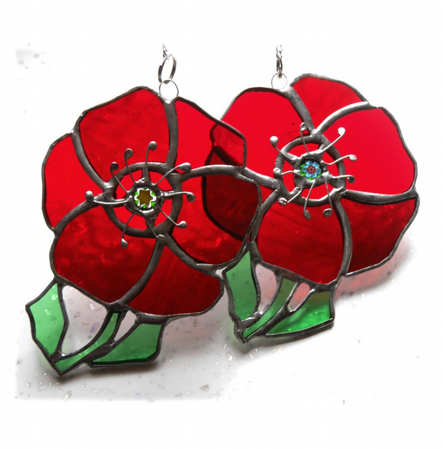 SOLD Poppy Suncatcher Stained Glass Handmade Red Flower 041 or 042
