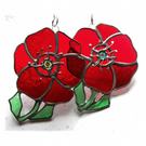 Poppy Suncatcher Stained Glass Handmade Red Flower 041 or 042